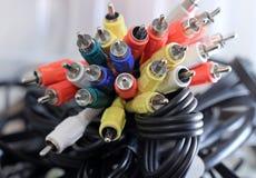Cables de audio y vídeo fotografía de archivo libre de regalías