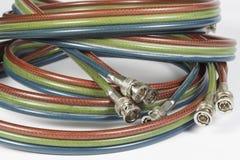 Cables de BNC para el vídeo análogo del componet Imagen de archivo