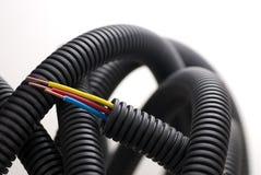 Cables de cobre del electricista Imágenes de archivo libres de regalías