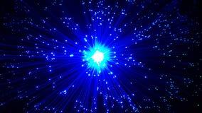 Cables de fibra óptica azules con extremidades brillantes fotos de archivo libres de regalías