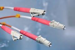 Cables de fribra óptica en sistemas de la red de ordenadores Imágenes de archivo libres de regalías