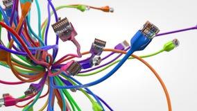 Cables de Internet el pulular el ejemplo conceptual 3d del cable de Ethernet y rj-45 tapan Imagenes de archivo