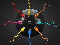 Cables de Internet y eje de la tecnología el ejemplo conceptual 3d del cable de Ethernet y rj-45 tapan Imagenes de archivo