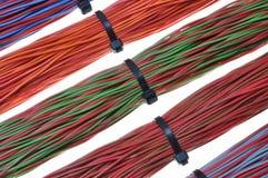 Cables de la red, alambres en las redes de ordenadores Fotos de archivo libres de regalías