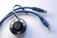 Cables de la red con el bloqueo foto de archivo libre de regalías