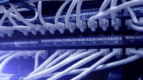 Cables de la red conectados con el interruptor Eje de la red foto de archivo libre de regalías