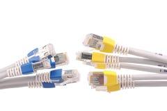 Cables de la red de ordenadores Imágenes de archivo libres de regalías