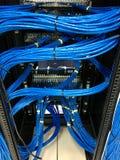 Cables de la red de ordenadores en el panel de remiendo de UTP fotos de archivo libres de regalías