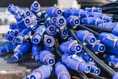 Cables de Powercon Fotos de archivo