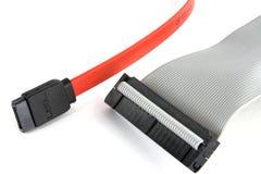 Cables de Sata y del ide Imágenes de archivo libres de regalías