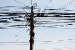 Cables de transmisión en Katmandu Imagen de archivo libre de regalías