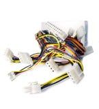 Cables del ordenador con los zócalos Fotografía de archivo