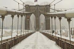 Cables del puente de Brooklyn en nieve Imagen de archivo libre de regalías
