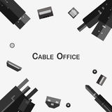Cables in different type. Cables in different type isolated on grey background with copy space. Vector Icon Design Royalty Free Stock Photo