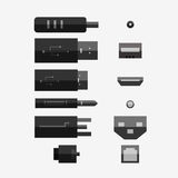 Cables in different type. Cables in different type  on white background. Vector Icon Design Royalty Free Stock Photography