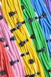 Cables eléctricos de los colores con las bridas de plástico Imagen de archivo libre de regalías