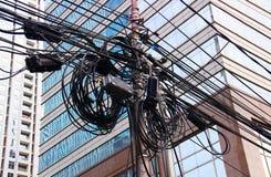 Cables eléctricos en Asia Imagen de archivo libre de regalías