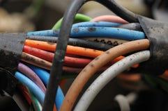 Cables eléctricos mohosos. imagen de archivo