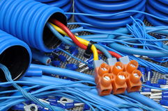 Cables and electrical component. Blue cables and electrical component Stock Image