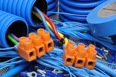 Cables and electrical component Royalty Free Stock Images