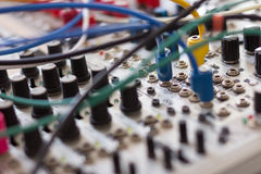 Cables and electronic macro, analog synthesizer Royalty Free Stock Image