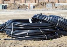 Cables en la construcción de carreteras Imágenes de archivo libres de regalías