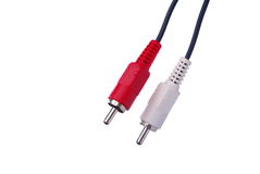 Cables estéreos audios en blanco Fotografía de archivo
