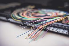 Cables fibroópticos en el panel de distribución del remiendo Imagen de archivo libre de regalías