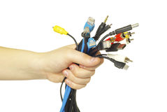 Cables in hand Royalty Free Stock Image