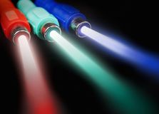 Cables with light beams Royalty Free Stock Photos