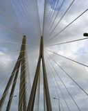 Cables in a modified fan design on a cable stay bridge. A cable-stayed bridge has one or more towers (or pylons), from which cables support the bridge deck. In royalty free stock images