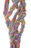 Cables multicolores del equipo de red Imágenes de archivo libres de regalías