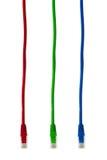 Cables multicolores del Internet del ordenador Foto de archivo