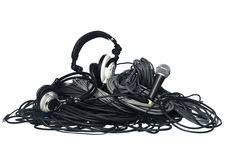 Cables and music equipment stock photography