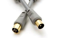 Cables plateados oro Fotos de archivo