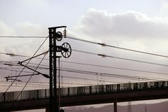 Cables and pole tower electric train railway Royalty Free Stock Photos