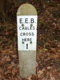 Cables que cruzan la advertencia de piedra del piso del bosque de los posts de muestra Foto de archivo