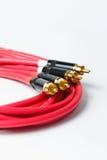 Cables rojos del audio del RCA de la estereofonia Fotografía de archivo libre de regalías