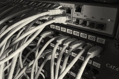 Cables in the router on the local area network Royalty Free Stock Images