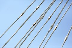 Cables of a suspension bridge closeup Stock Photography