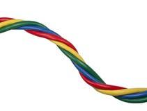 Cables torcidos brillantemente coloreados de la red de Ethernet Foto de archivo