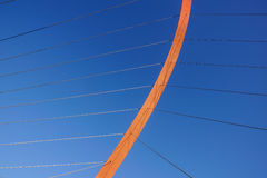 Cables and tower of the suspension bridge.  Royalty Free Stock Images