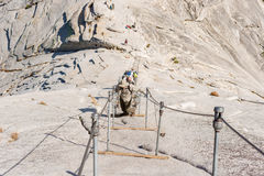 The Cables up Half Dome in Yosemite National Park Royalty Free Stock Images