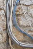 Cables. And wires for network signal and electricity Royalty Free Stock Images