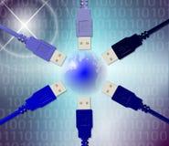 Cables y tierra del USB ilustración del vector