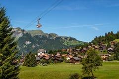 Cableway över Wengen, Schweiz Fotografering för Bildbyråer