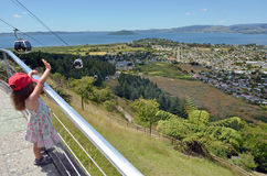 Cableway γονδολών οριζόντων σε Rotorua - τη Νέα Ζηλανδία Στοκ Φωτογραφία