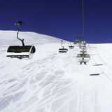 Cableway above the ski slope Stock Image