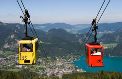 Cableway in alps Stock Images