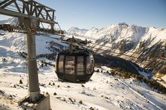 Cableway in the Alps mountains. Austria, Ischgl Stock Photos